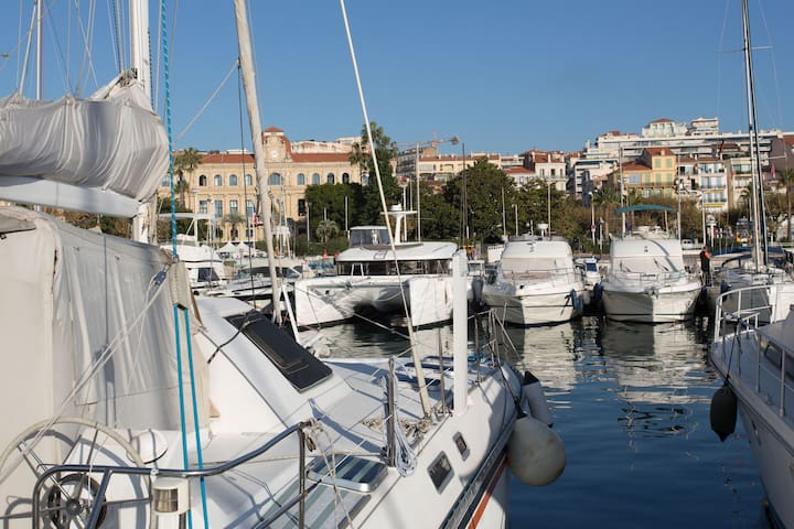 motor yacht in the harbor of Cannes