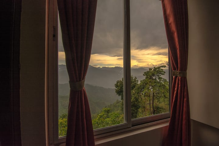 Triple bed room with mesmerizing view of Himalayas