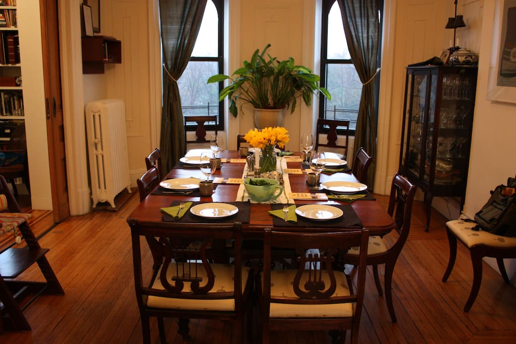Dining room overlooking the park