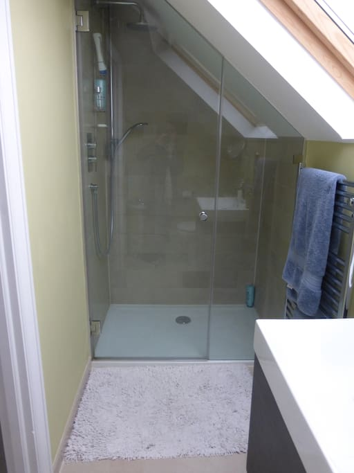 ...with large walk-in shower