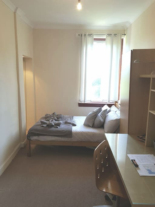 Bright Airy Double Bedroom with an abundance of floor and desk space, great for any length of stay.