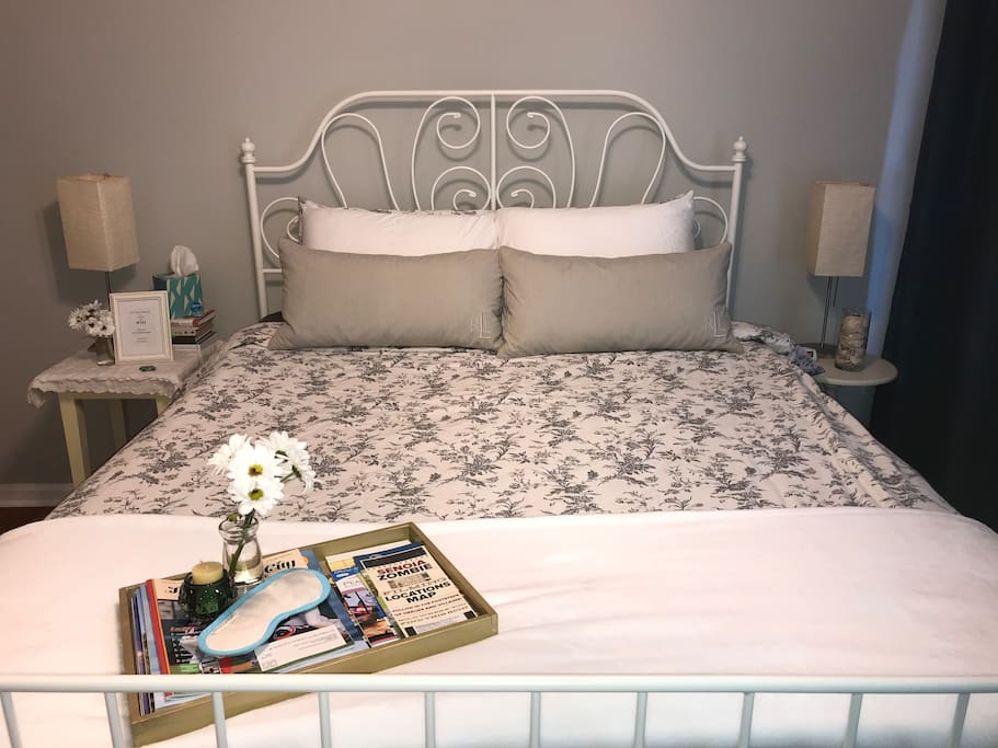 Queen bed with French doors for privacy