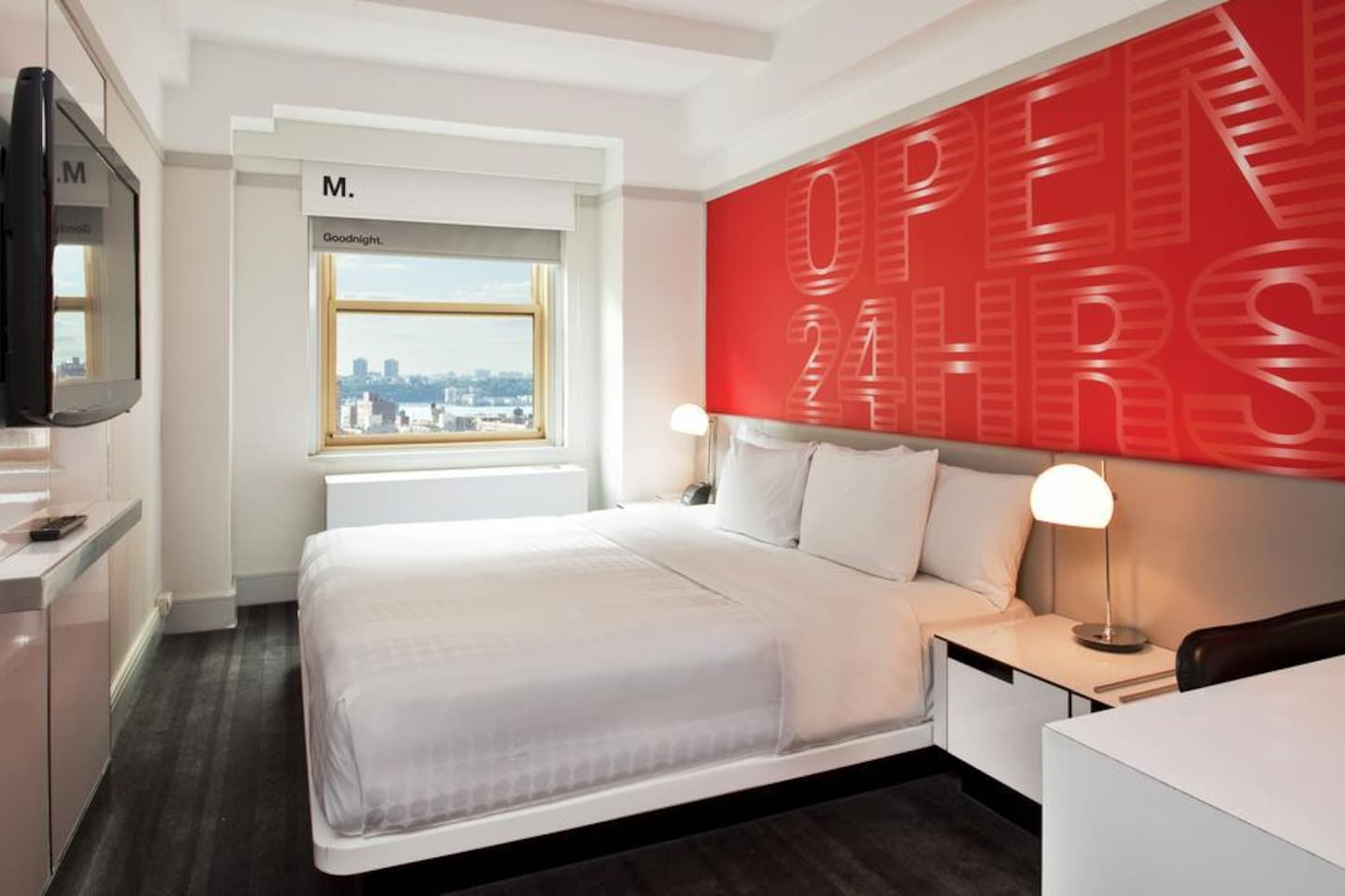 Downtown cool – yet sophisticated hotel rooms in Times Square New York.