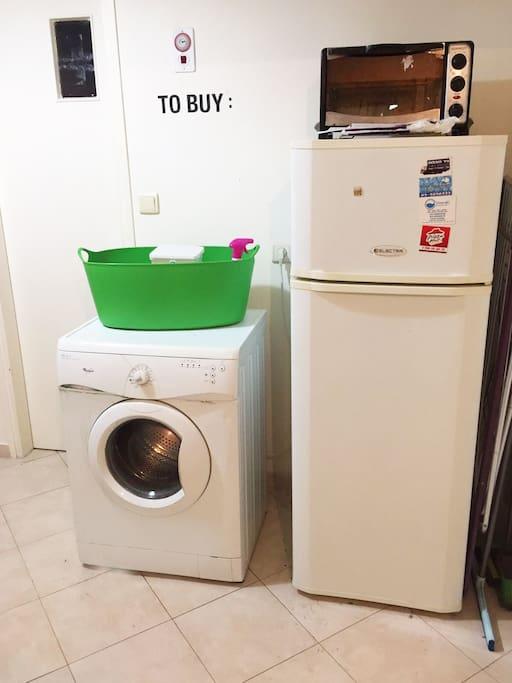 washing machine + refrigerator