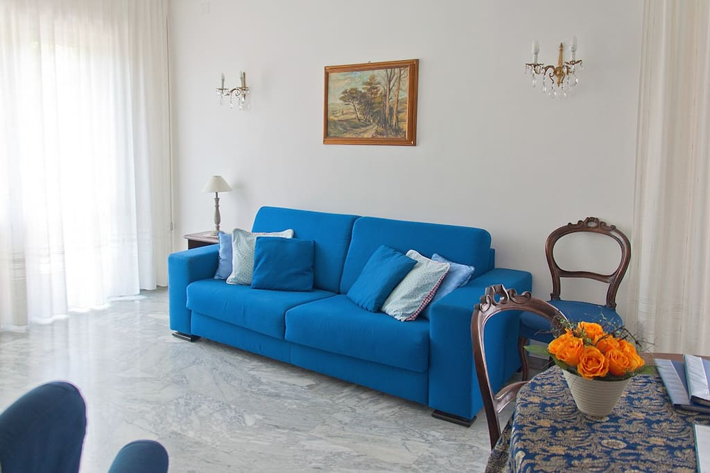 Blue double sofa bed in the living room