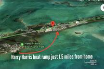Harry Harris boat ramp just 1.5 miles from the home.