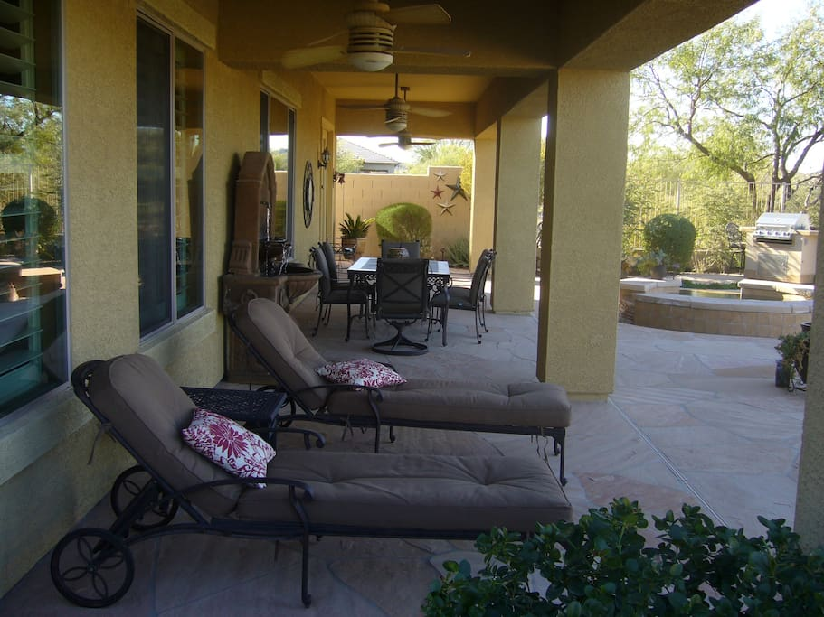 Comfortable seating for eating outside and lounging.