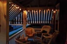 Enjoy an idyllic view of Cape May's Victorian splendor by night