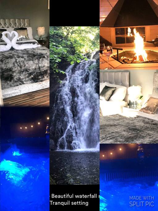 Studio, hottub and firehut and local nearby waterfall