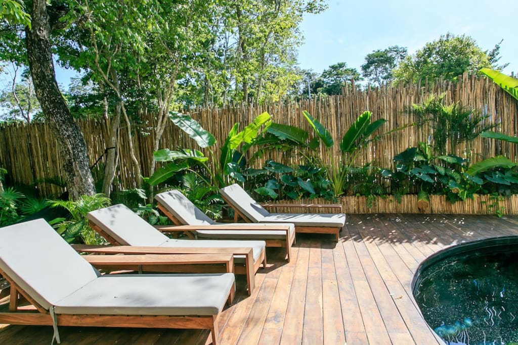 Kick back and soak up the sun on the comfy lounge chairs surrounding the crisp cool pool