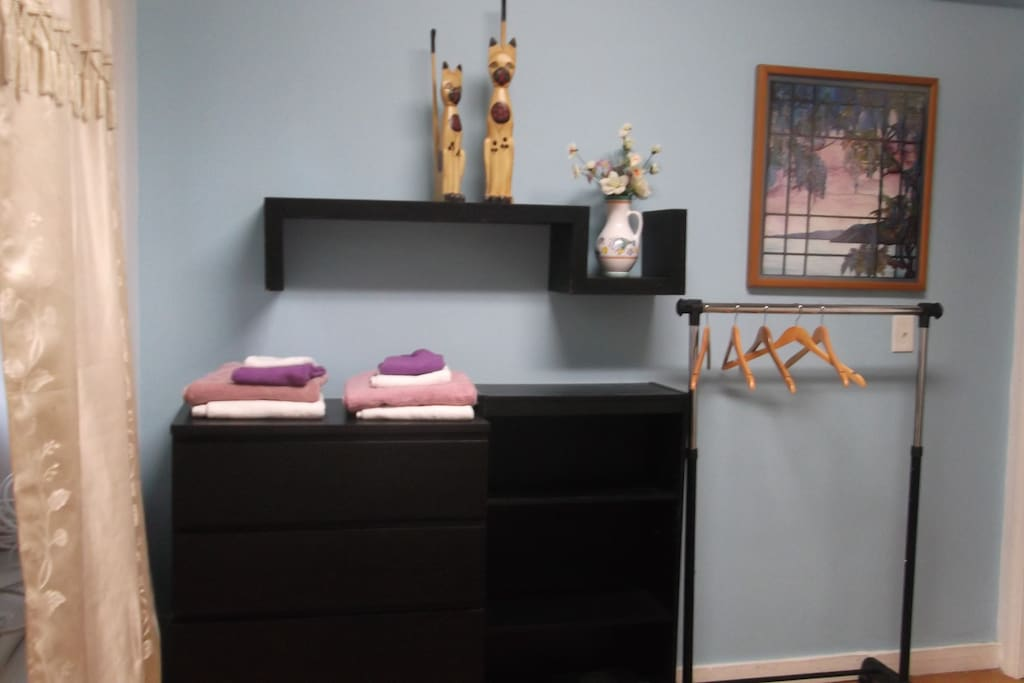 Large dresser for clothes and a hanging rack next to it for coats.