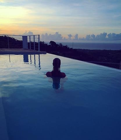 Calm at the end of the day.   Salt water pools are much gentler on the eyes and the skin.