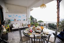 The owners' Panoramic Terrace where breakfast will be served every morning with panoramic view of Capri, Vesuvius, Amalfi Coast, Ischia and Procida