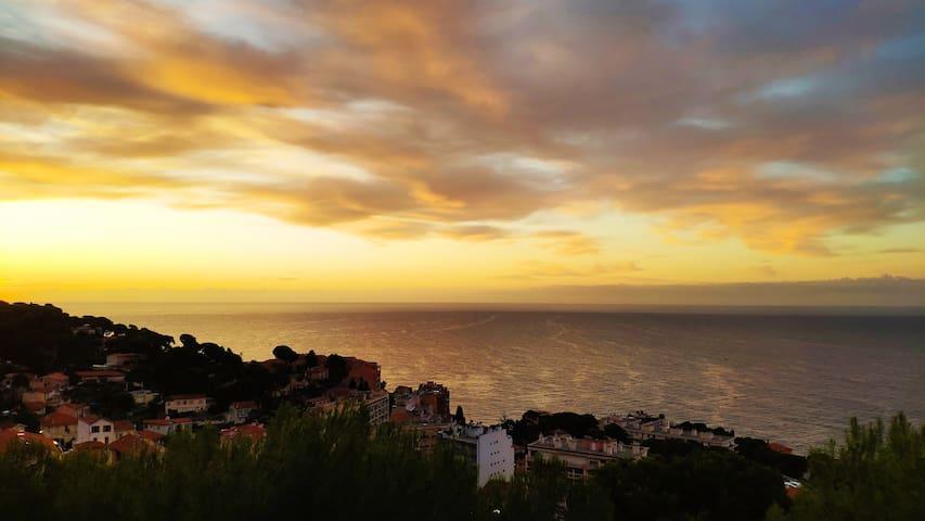 Cap d'Ail, 2 pièces, vue mer 180° à 5 mn de Monaco
