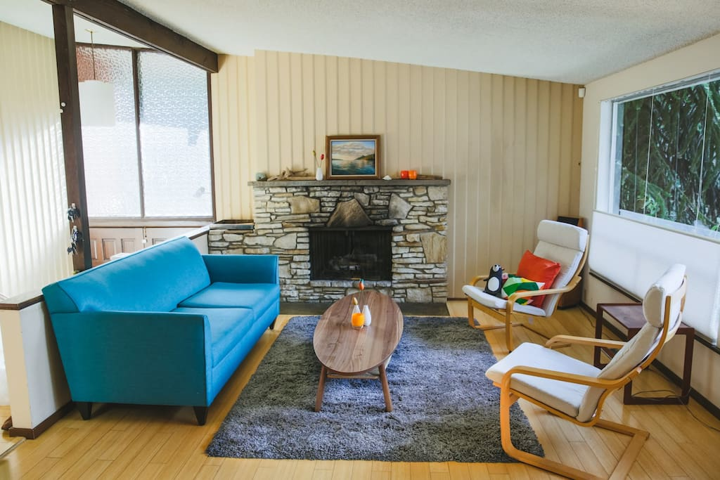 Living Room. Funky 60's fireplace.