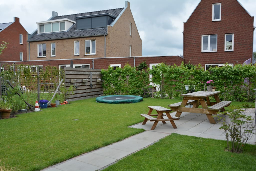 Our garden with trampoline±