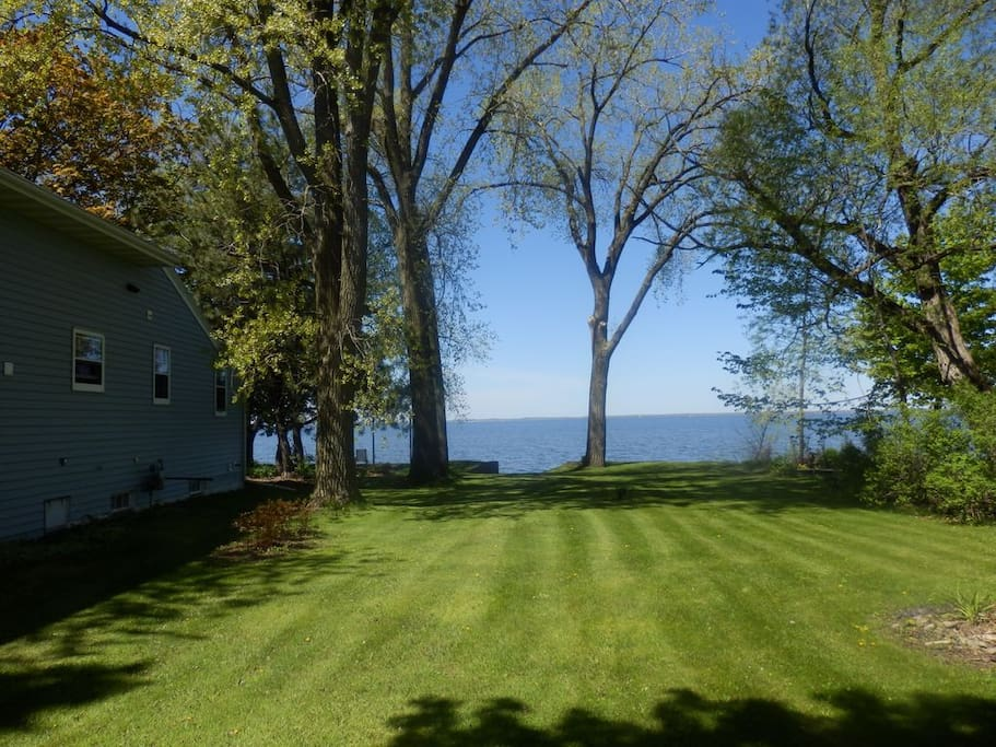 We have one full acre of land directly on the Bay with plenty of room to play.