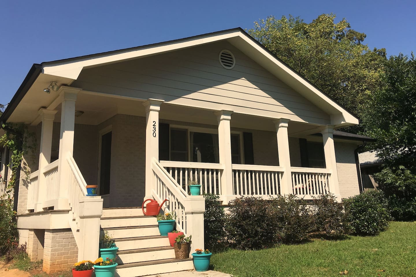 Huge front porch, beautiful, clean, full of light, perfect home away from home.