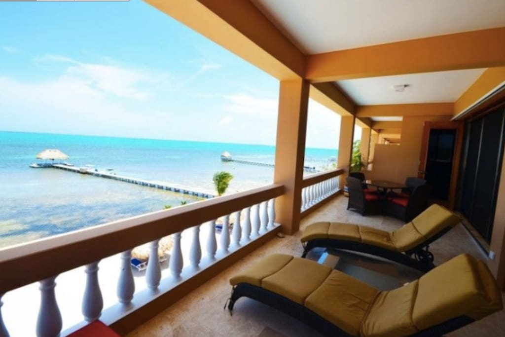 Amazing views from the spacious, oceanfront balcony, complete with outdoor lounging and dining furniture!