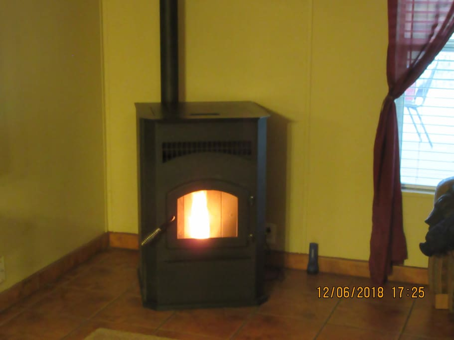 Cozy romantic fire from pellet stove