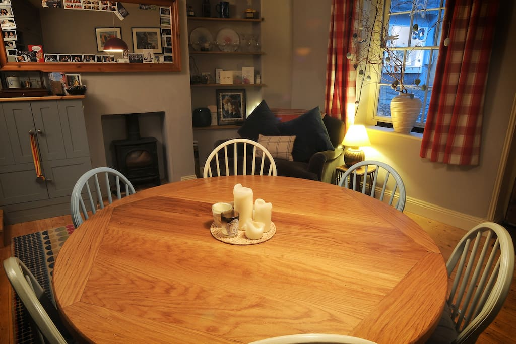Large Handmade Oak Table and Woodburner