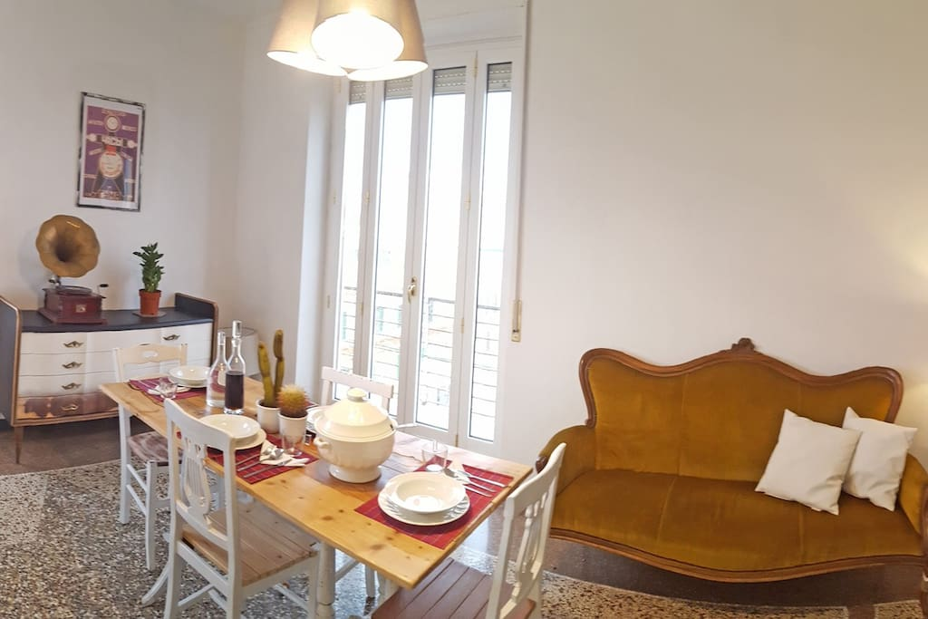 Room #3 or living room with 120x190cm bed, big table, sofa and balcony with view