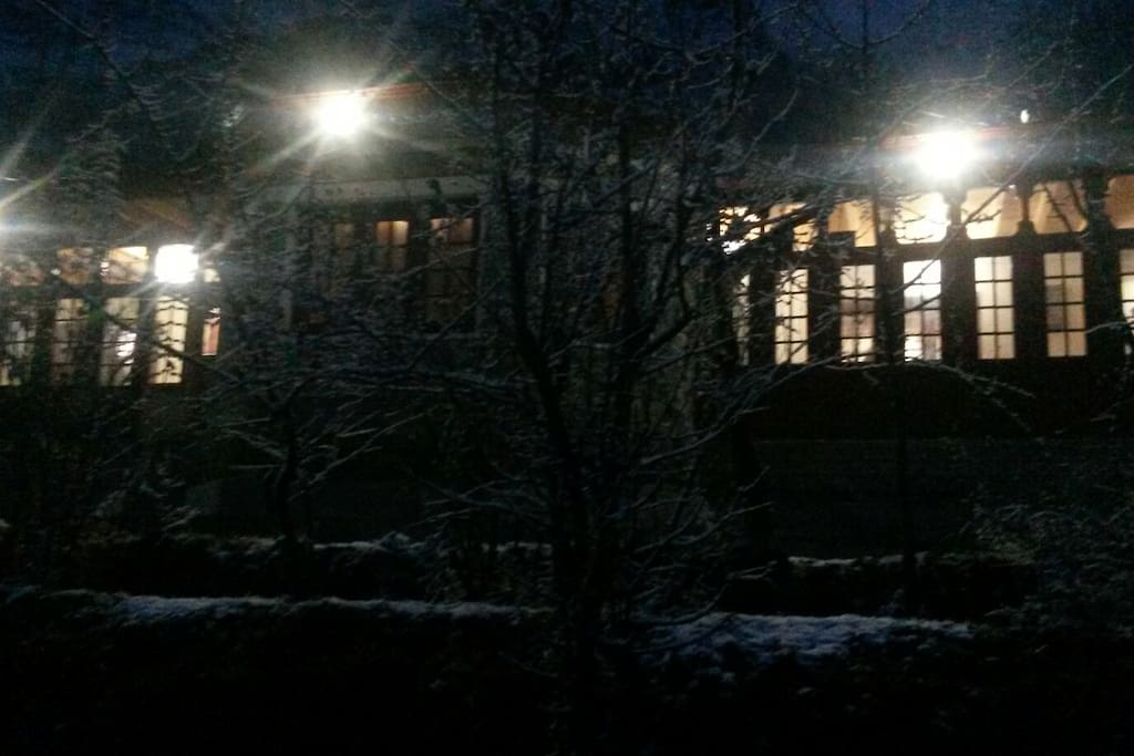 The house during winters at night.