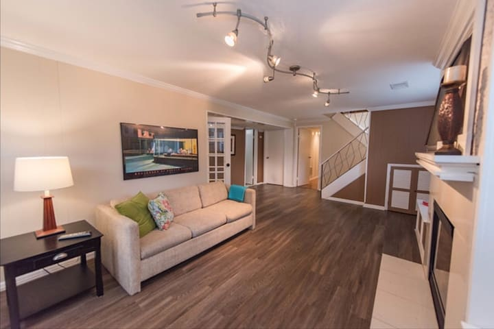 Downstairs living area with full size pull out couch.