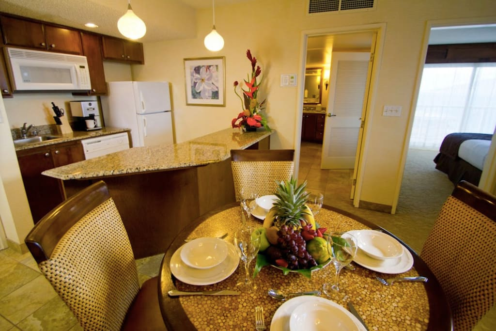 kitchen is equipped with a refrigerator, dishwasher microwave, electric skillet, toaster, coffee maker, Blender.  Note there is not a stove. If needed call housekeeping for a hotplate, pots and pans and a rice cooker