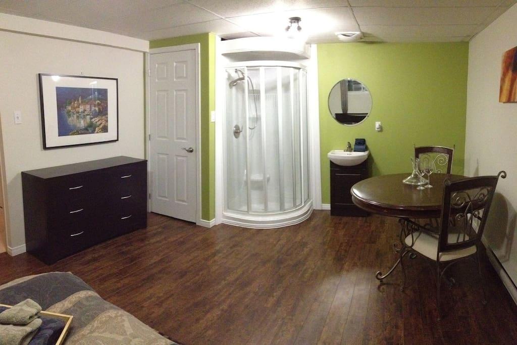 Douche et lavabo dans grande chambre