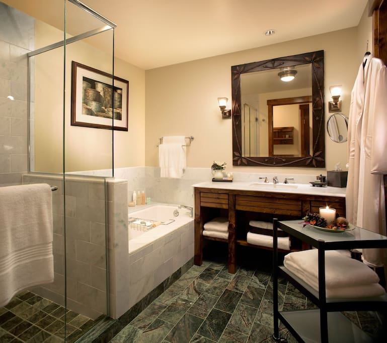 Soak in our tub with Thymes Eucalyptus Bath Products