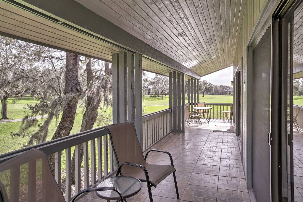 Enjoy relaxing on the balcony that overlooks the golf course.
