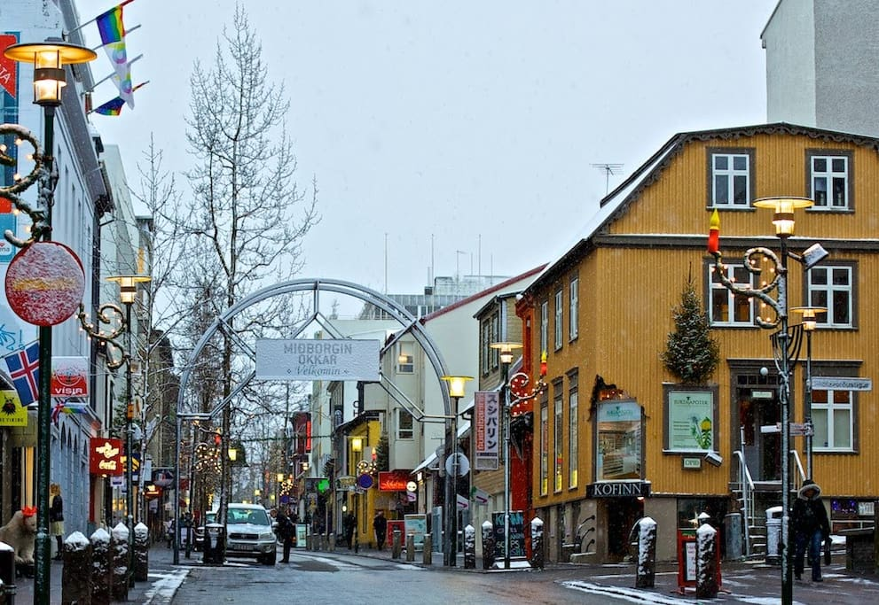The main shopping street in Reykjavik is also just aroun the corner