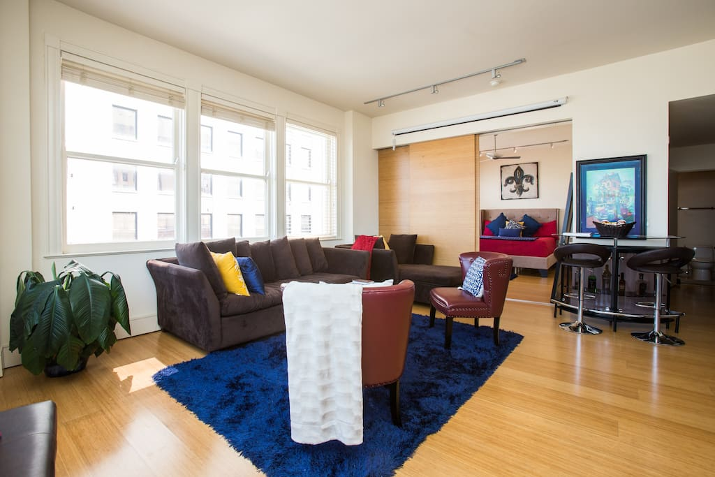 Amazing views of downtown NOLA from this living area will knock your socks off