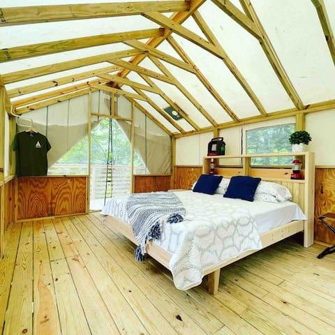 Upperfloor is the sleeping quarter, with queen size bed.