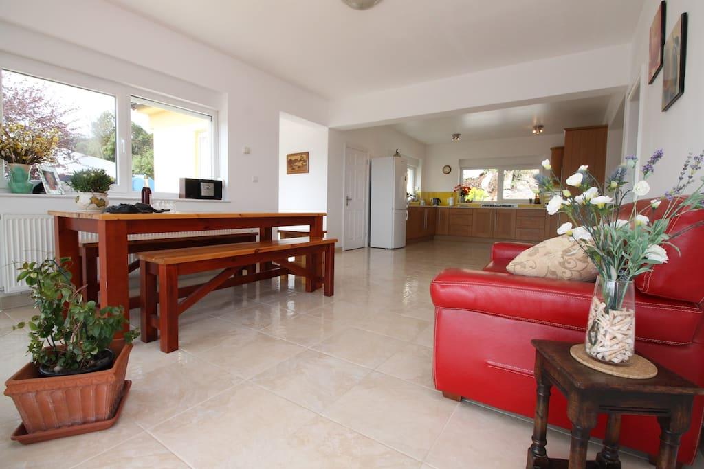 Large kitchen/dinning area