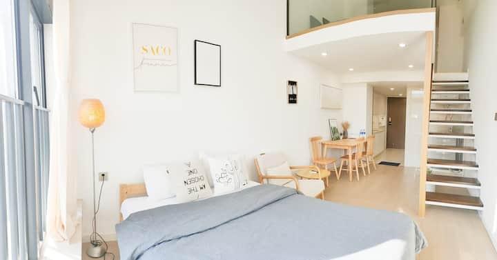 SACO Nihon | 复式LOFT | 双床 | 简约原木质日式风 | 拱北口岸& 近港澳