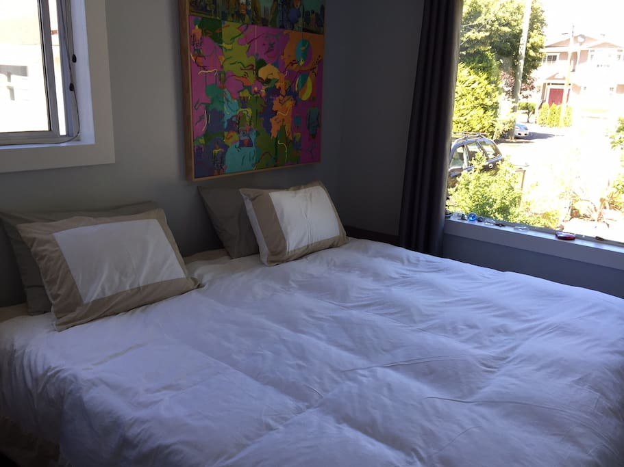 Comfortable Electric King Size Bed with 2 windows in Master Bedroom.