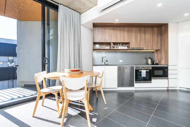 Modern style kitchen and dining area