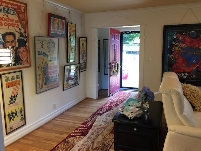 Main floor (shared space):  Entry & Doug's vintage movie posters.