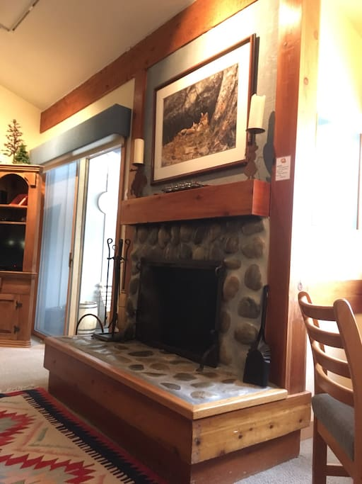 A  wood burning fireplace to add to the cozy ambiance.