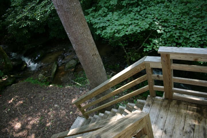 Stairs from back deck to creek