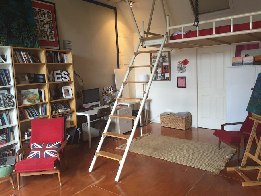 downstairs with double loft bed