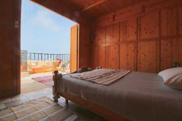 Cosy wooden room on the top