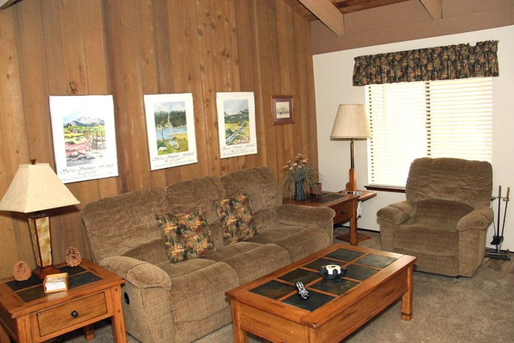Mammoth Lakes Rental Sunshine Village 136 - Cozy Living Room -Sofa Reclines but is not a Sofa Sleeper