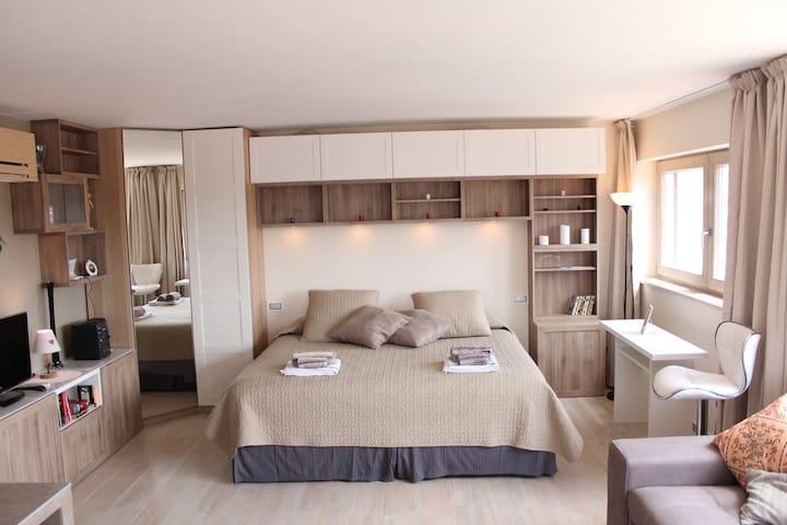 La zona soggiorno/notte. The living/bed room.