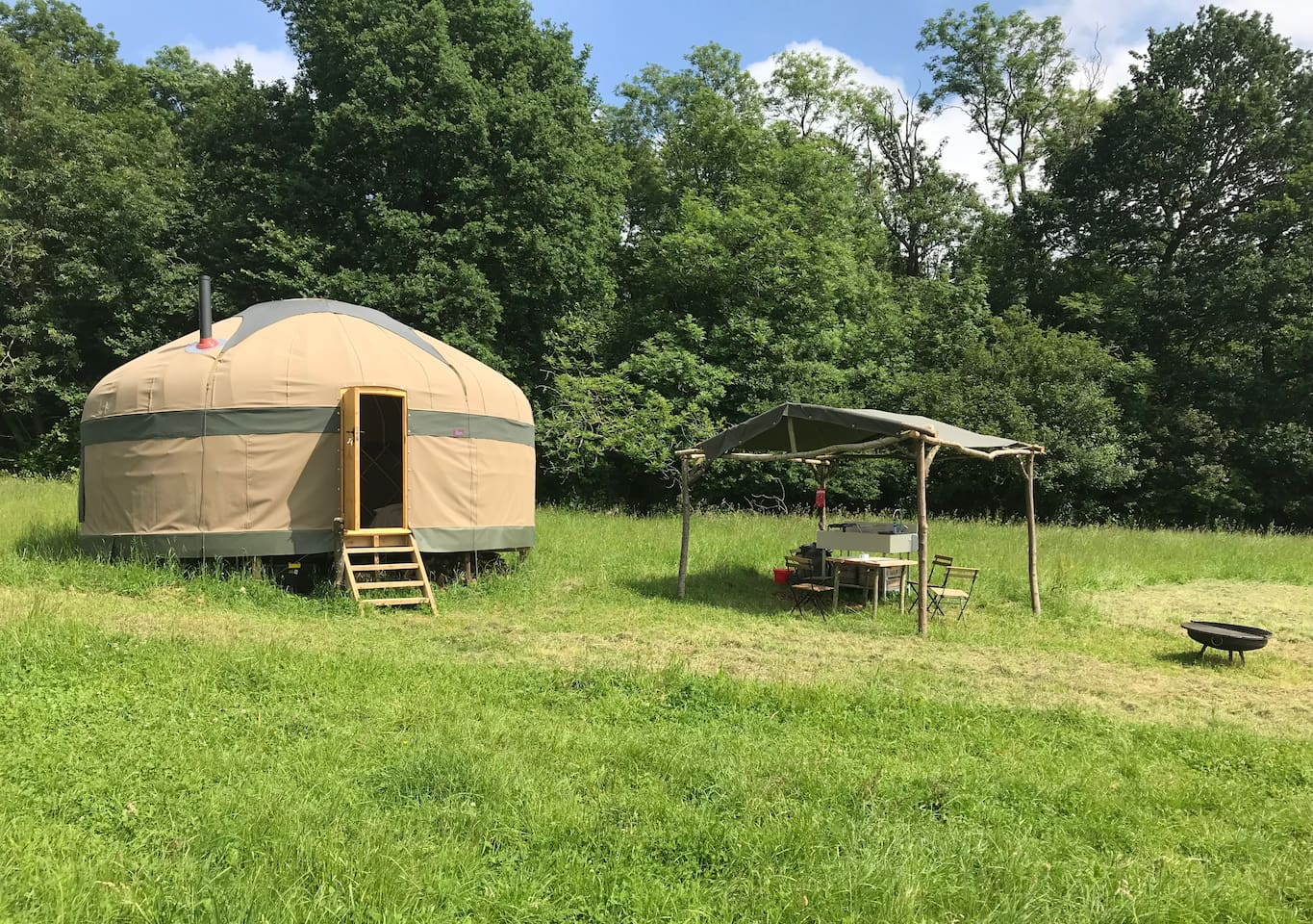 Oak yurt, with it's kitchen and firepit