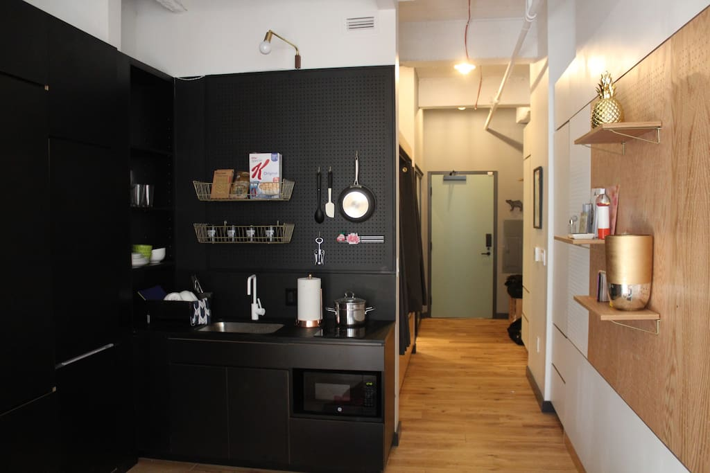 studio with little unit kitchen