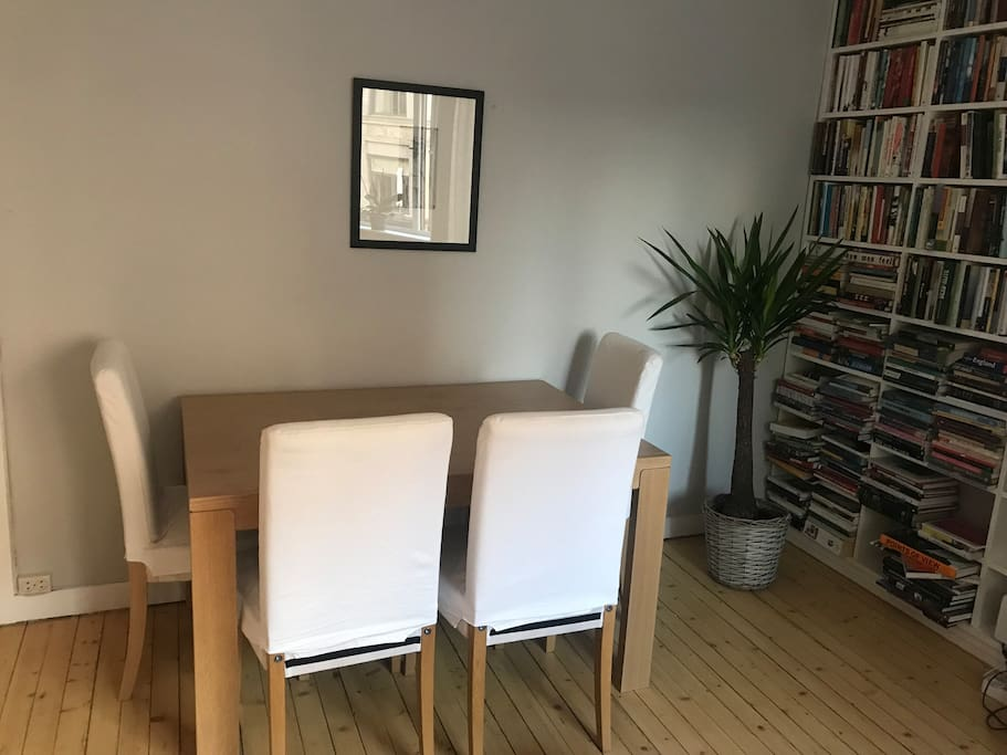 Dining table for guests in the living room