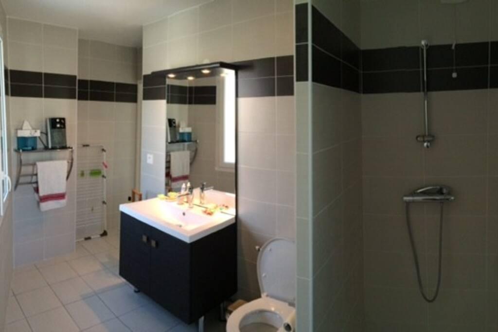 Une belle salle de bain avec douche, WC & 2 fenêtres.